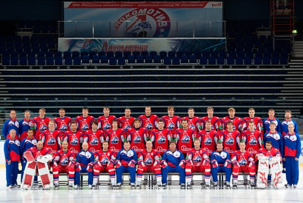 Handout file photo shows Lokomotive Yaroslavl ice-hockey team of the KHL posing for a team photo